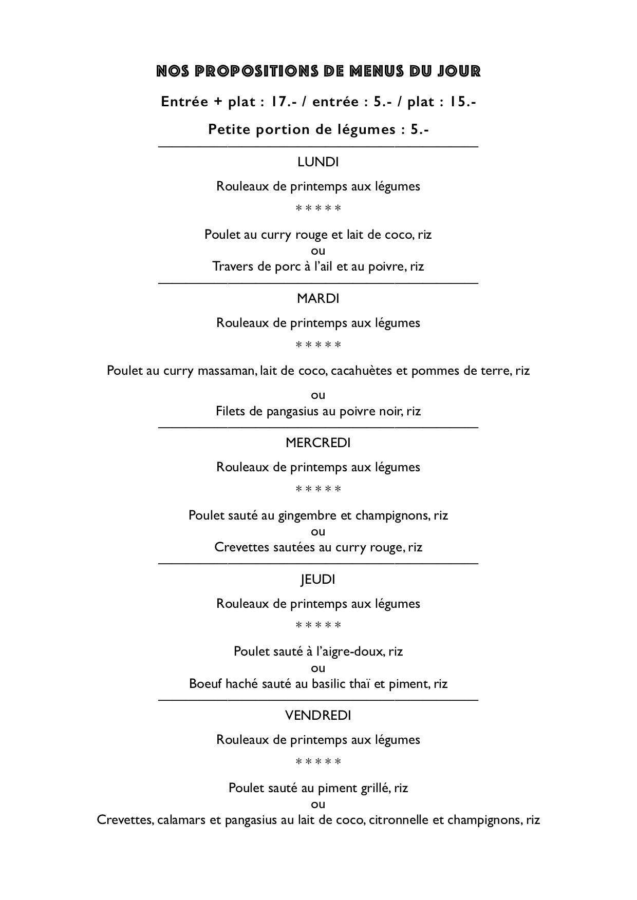 menu du jour A4
